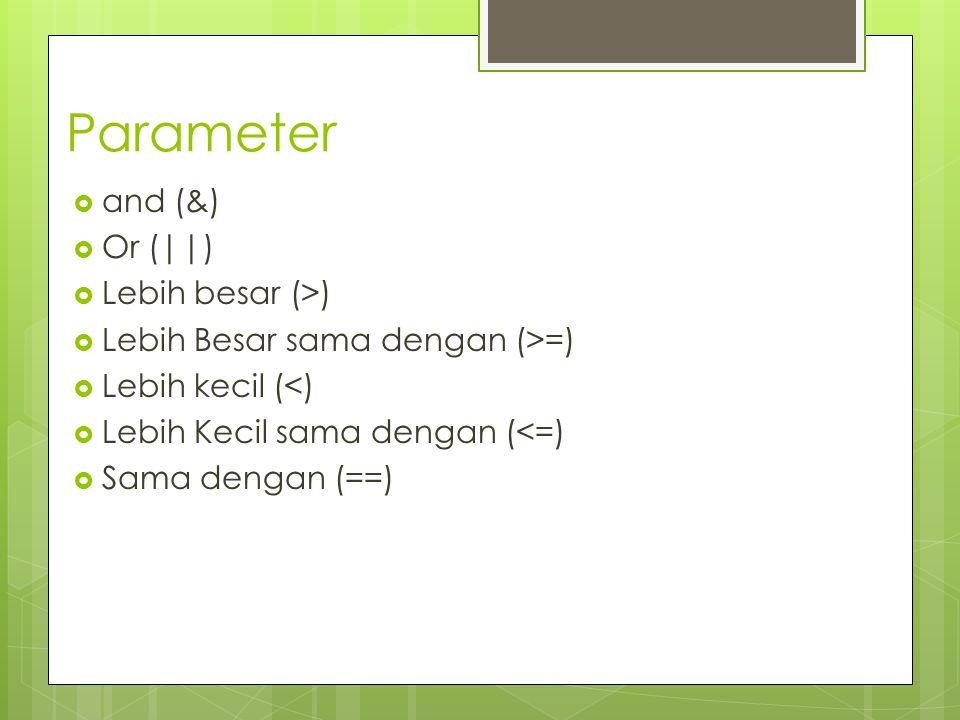 Parameter  and (&)  Or (||)  Lebih besar (>)  Lebih Besar sama dengan (>=)  Lebih kecil (<)  Lebih Kecil sama dengan (<=)  Sama dengan (==)