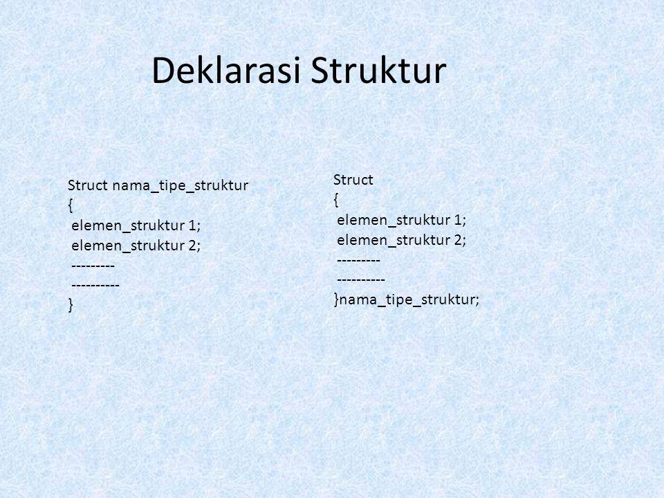 Deklarasi Struktur Struct nama_tipe_struktur { elemen_struktur 1; elemen_struktur 2; --------- ---------- } Struct { elemen_struktur 1; elemen_struktu