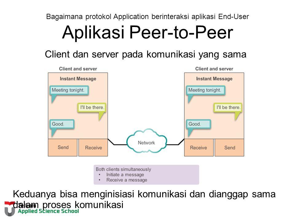 Bagaimana protokol Application berinteraksi aplikasi End-User Aplikasi Peer-to-Peer Client dan server pada komunikasi yang sama Keduanya bisa menginisiasi komunikasi dan dianggap sama dalam proses komunikasi