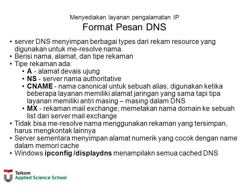 Menyediakan layanan pengalamatan IP Format Pesan DNS server DNS menyimpan berbagai types dari rekam resource yang digunakan untuk me-resolve nama.