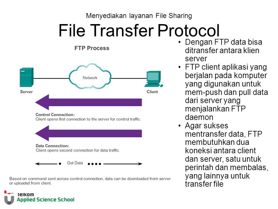 Menyediakan layanan File Sharing File Transfer Protocol Dengan FTP data bisa ditransfer antara klien server FTP client aplikasi yang berjalan pada komputer yang digunakan untuk mem-push dan pull data dari server yang menjalankan FTP daemon Agar sukses mentransfer data, FTP membutuhkan dua koneksi antara client dan server, satu untuk perintah dan membalas, yang lainnya untuk transfer file