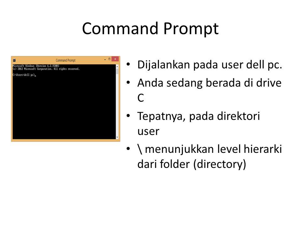Command Prompt Dijalankan pada user dell pc. Anda sedang berada di drive C Tepatnya, pada direktori user \ menunjukkan level hierarki dari folder (dir