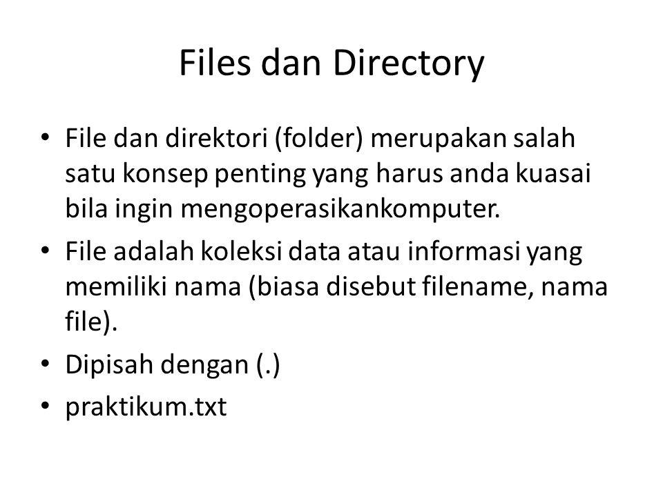 Files dan Directory File dan direktori (folder) merupakan salah satu konsep penting yang harus anda kuasai bila ingin mengoperasikankomputer. File ada