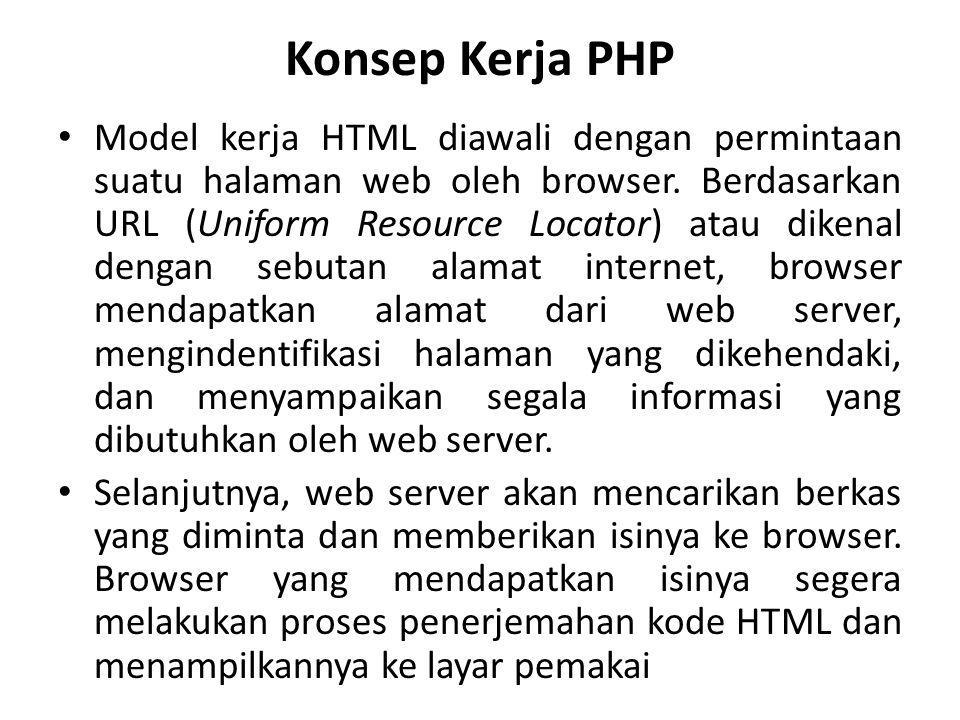 Konsep Kerja PHP Model kerja HTML diawali dengan permintaan suatu halaman web oleh browser. Berdasarkan URL (Uniform Resource Locator) atau dikenal de