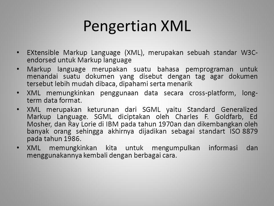 Pengertian XML EXtensible Markup Language (XML), merupakan sebuah standar W3C- endorsed untuk Markup language Markup language merupakan suatu bahasa p