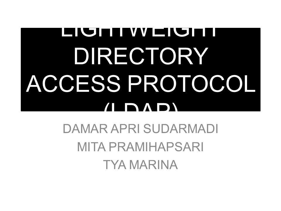 LIGHTWEIGHT DIRECTORY ACCESS PROTOCOL (LDAP) DAMAR APRI SUDARMADI MITA PRAMIHAPSARI TYA MARINA