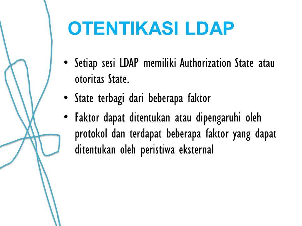 OTENTIKASI LDAP Setiap sesi LDAP memiliki Authorization State atau otoritas State. State terbagi dari beberapa faktor Faktor dapat ditentukan atau dip