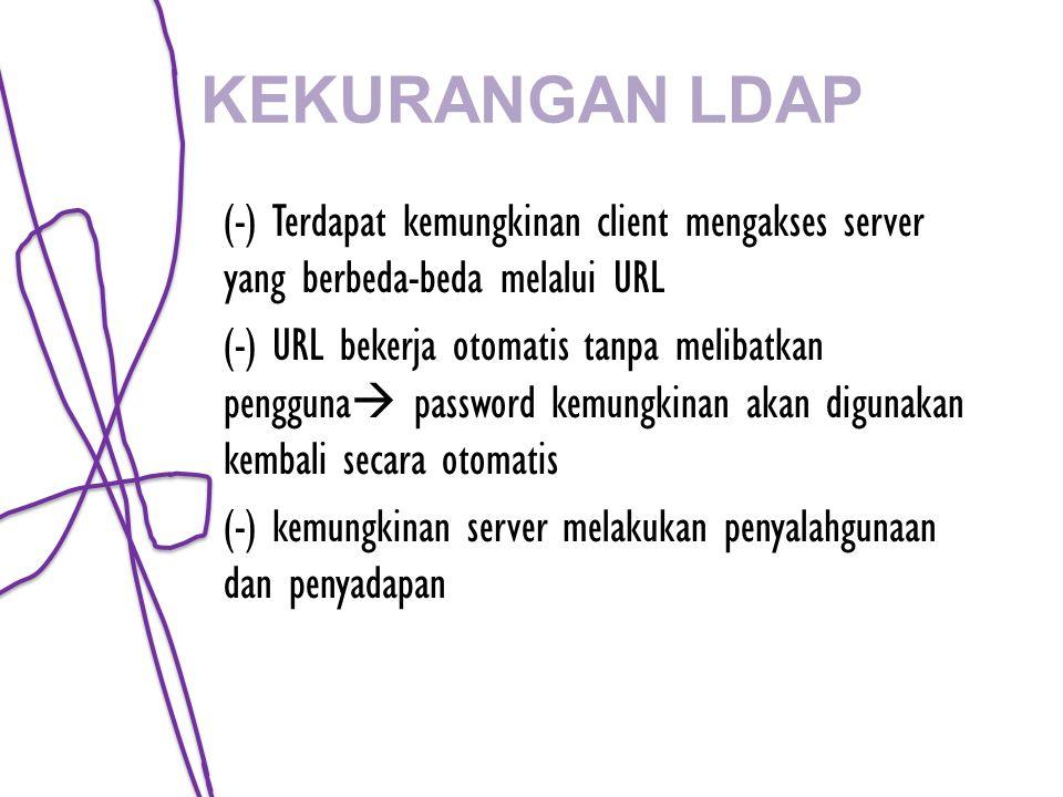 KEKURANGAN LDAP (-) Terdapat kemungkinan client mengakses server yang berbeda-beda melalui URL (-) URL bekerja otomatis tanpa melibatkan pengguna  password kemungkinan akan digunakan kembali secara otomatis (-) kemungkinan server melakukan penyalahgunaan dan penyadapan