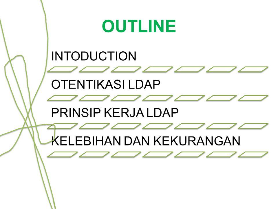 OUTLINE INTODUCTION OTENTIKASI LDAP PRINSIP KERJA LDAP KELEBIHAN DAN KEKURANGAN