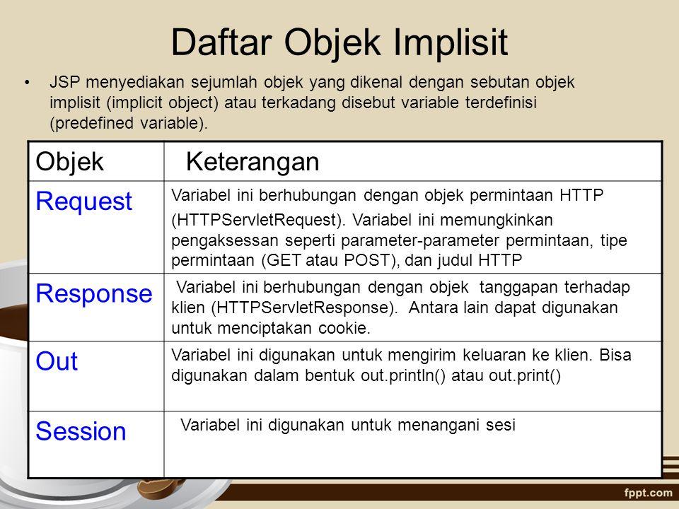 Daftar Objek Implisit JSP menyediakan sejumlah objek yang dikenal dengan sebutan objek implisit (implicit object) atau terkadang disebut variable terd