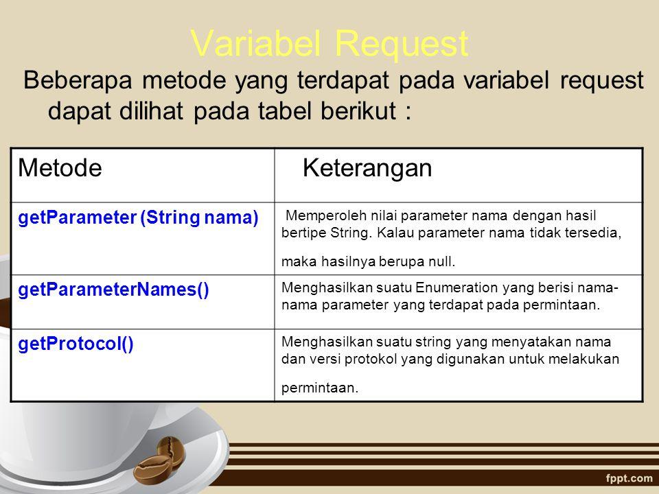 Variabel Request Beberapa metode yang terdapat pada variabel request dapat dilihat pada tabel berikut : Metode Keterangan getParameter (String nama) M