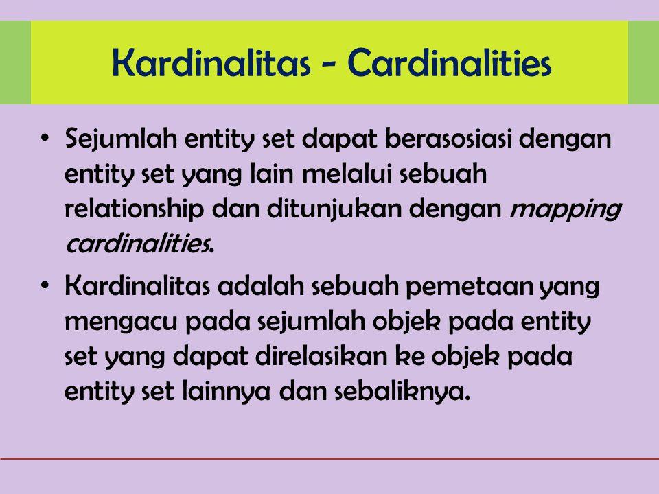Sejumlah entity set dapat berasosiasi dengan entity set yang lain melalui sebuah relationship dan ditunjukan dengan mapping cardinalities.