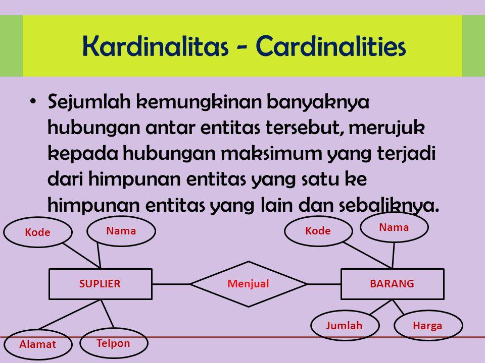 Sejumlah kemungkinan banyaknya hubungan antar entitas tersebut, merujuk kepada hubungan maksimum yang terjadi dari himpunan entitas yang satu ke himpunan entitas yang lain dan sebaliknya.