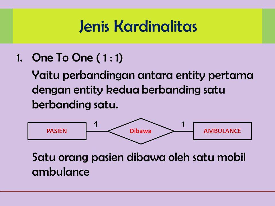 1.One To One ( 1 : 1) Yaitu perbandingan antara entity pertama dengan entity kedua berbanding satu berbanding satu.