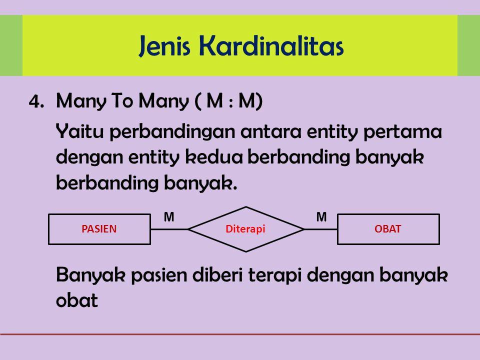 4.Many To Many ( M : M) Yaitu perbandingan antara entity pertama dengan entity kedua berbanding banyak berbanding banyak.