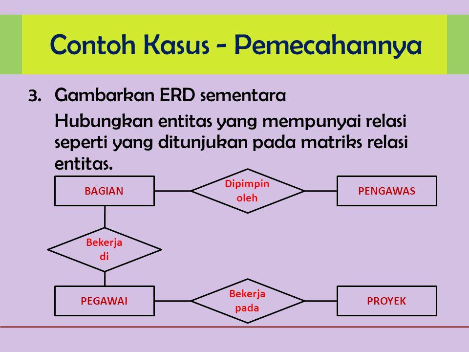 3.Gambarkan ERD sementara Hubungkan entitas yang mempunyai relasi seperti yang ditunjukan pada matriks relasi entitas.