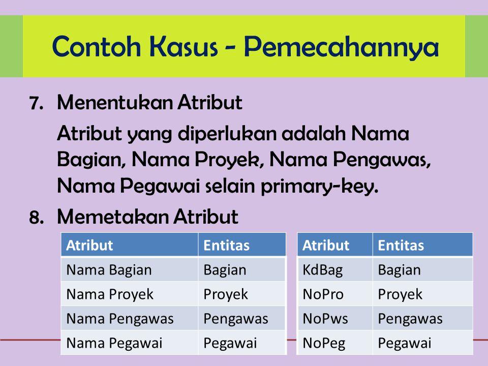 7.Menentukan Atribut Atribut yang diperlukan adalah Nama Bagian, Nama Proyek, Nama Pengawas, Nama Pegawai selain primary-key.