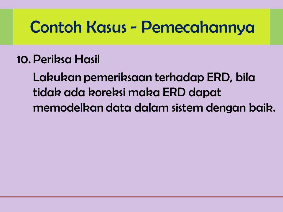 10.Periksa Hasil Lakukan pemeriksaan terhadap ERD, bila tidak ada koreksi maka ERD dapat memodelkan data dalam sistem dengan baik.