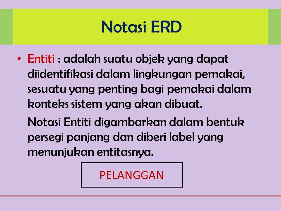 Notasi ERD Entiti : adalah suatu objek yang dapat diidentifikasi dalam lingkungan pemakai, sesuatu yang penting bagi pemakai dalam konteks sistem yang akan dibuat.