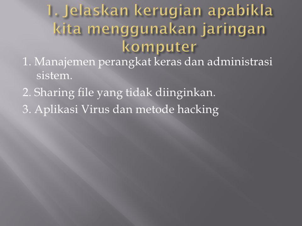 1. Manajemen perangkat keras dan administrasi sistem. 2. Sharing file yang tidak diinginkan. 3. Aplikasi Virus dan metode hacking