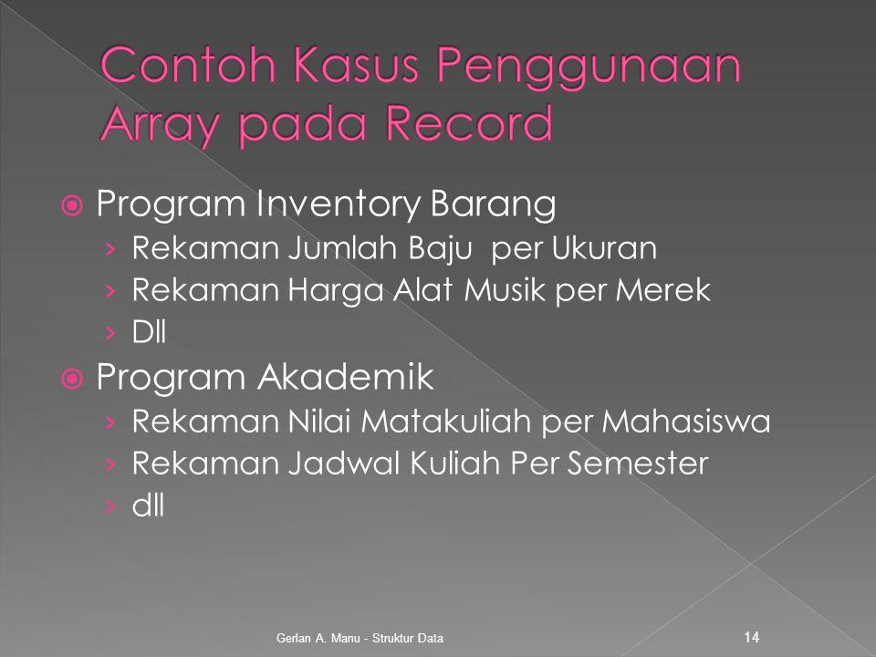  Program Inventory Barang › Rekaman Jumlah Baju per Ukuran › Rekaman Harga Alat Musik per Merek › Dll  Program Akademik › Rekaman Nilai Matakuliah p