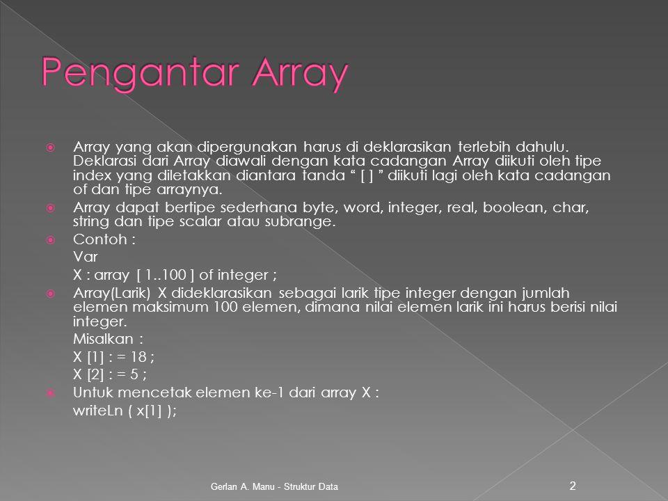  Array yang akan dipergunakan harus di deklarasikan terlebih dahulu. Deklarasi dari Array diawali dengan kata cadangan Array diikuti oleh tipe index