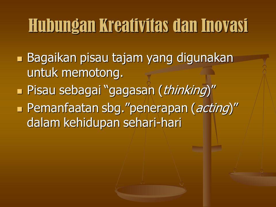 """Hubungan Kreativitas dan Inovasi Bagaikan pisau tajam yang digunakan untuk memotong. Pisau sebagai """"gagasan (thinking)"""" Pemanfaatan sbg.""""penerapan (ac"""