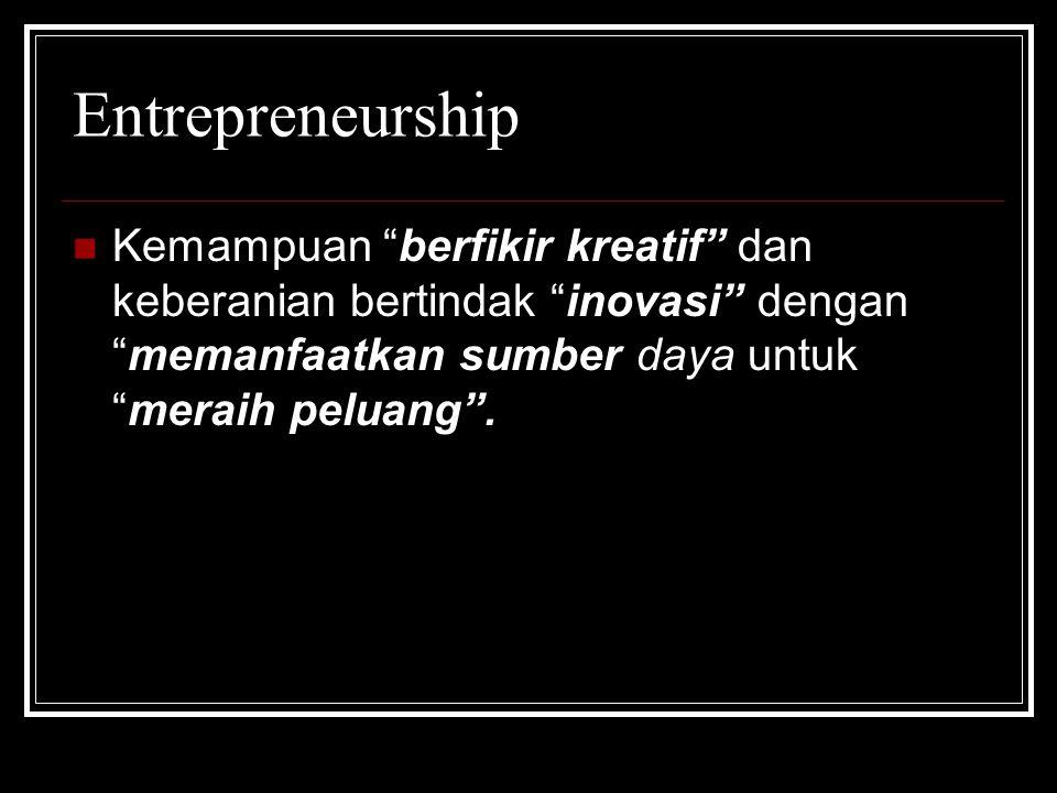 KEWIRAUSAHAAN Adalah kemampuan kreatif dan inovatif yang dijadikan dasar, dan sumber daya untuk mencari peluang menuju sukses.