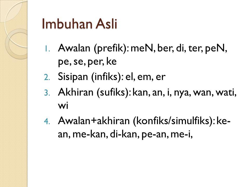 Imbuhan 1. Imbuhan Asli: awalan (prefiks), sisipan (infiks), akhiran (sufik), awal+akhiran (konfiks) 2. Imbuhan Asing: is, isme, isasi, man, wan, wati