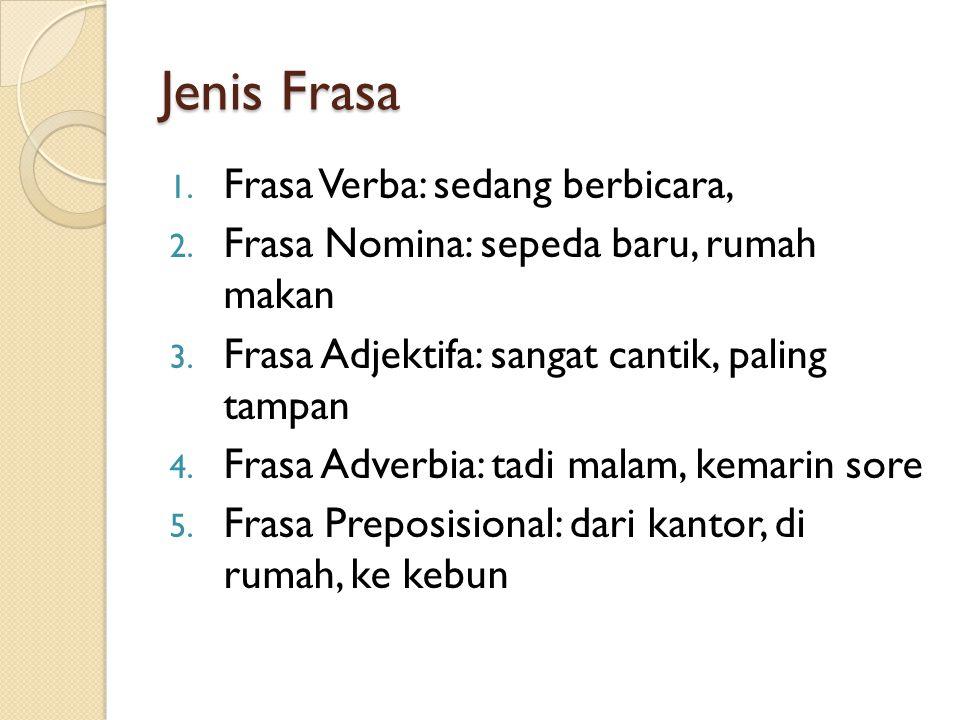 Gabungan Kata: Frasa Frasa: gabungan kata yang menduduki satu fungsi atau unsur dalam kalimat Jenis Frasa: 1. Frasa Eksosentrik: frasa yang terdiri da