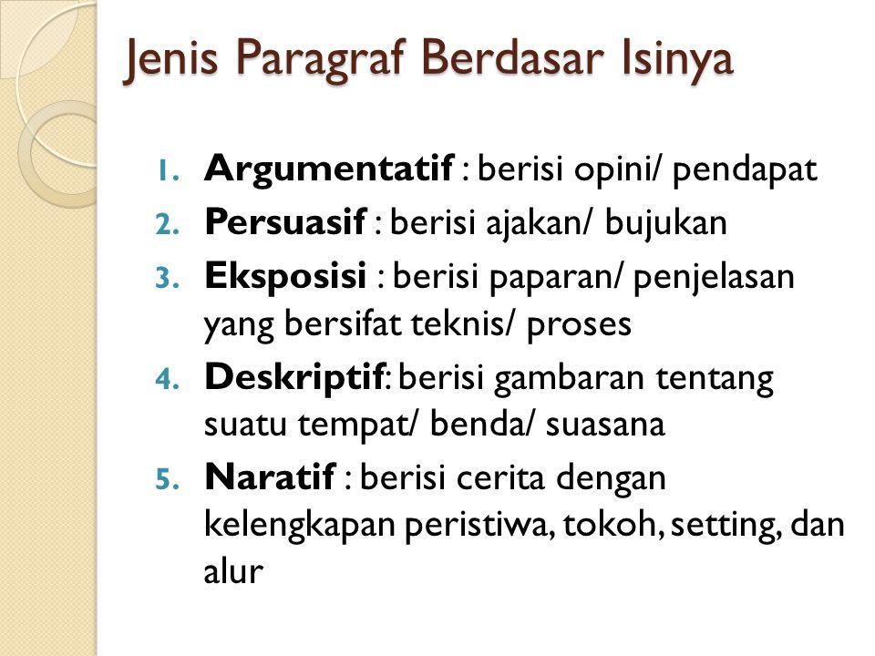 Jenis Paragraf Berdasar Letak Kalimat Utamanya 1. Deduktif: depan/ awal 2. Induktif : belakang/ akhir 3. Ineratif : tengah 4. Variatif : awal dan akhi