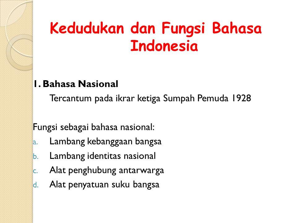 ALASAN BAHASA MELAYU DIANGKAT SEBAGAI BAHASA INDONESIA 1. Bahasa melayu merupakan lingua franca di Indonesia, bahasa perhubungan dan bahasa perdaganga