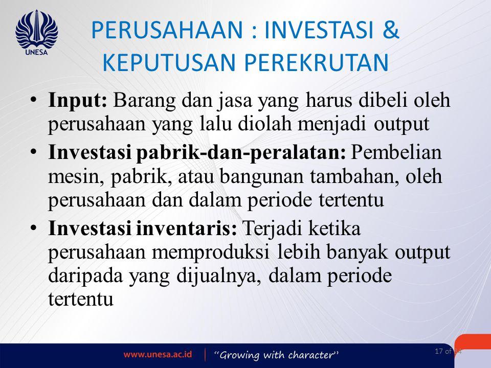 PERUSAHAAN : INVESTASI & KEPUTUSAN PEREKRUTAN Input: Barang dan jasa yang harus dibeli oleh perusahaan yang lalu diolah menjadi output Investasi pabri