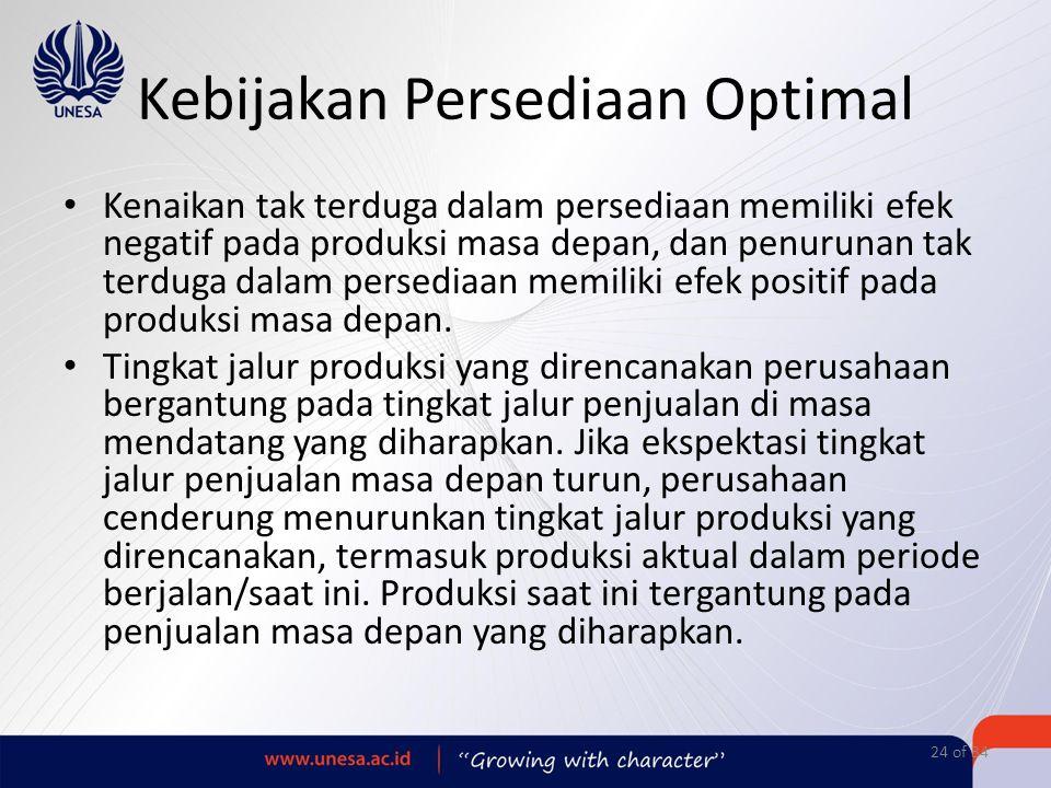 Kenaikan tak terduga dalam persediaan memiliki efek negatif pada produksi masa depan, dan penurunan tak terduga dalam persediaan memiliki efek positif
