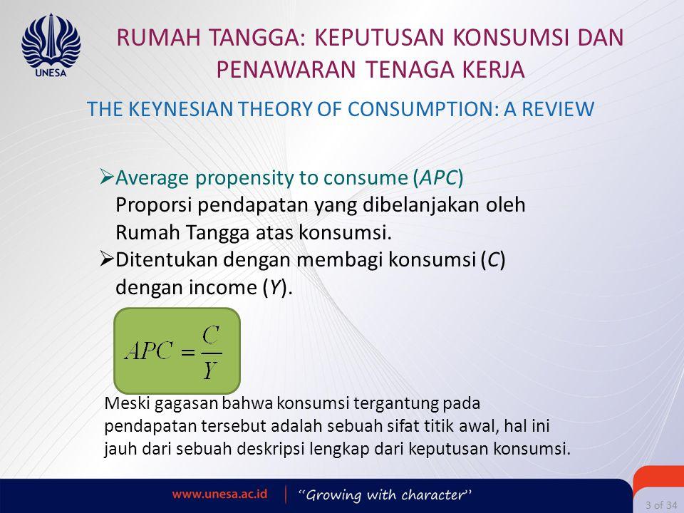 3 of 34 RUMAH TANGGA: KEPUTUSAN KONSUMSI DAN PENAWARAN TENAGA KERJA  Average propensity to consume (APC) Proporsi pendapatan yang dibelanjakan oleh R