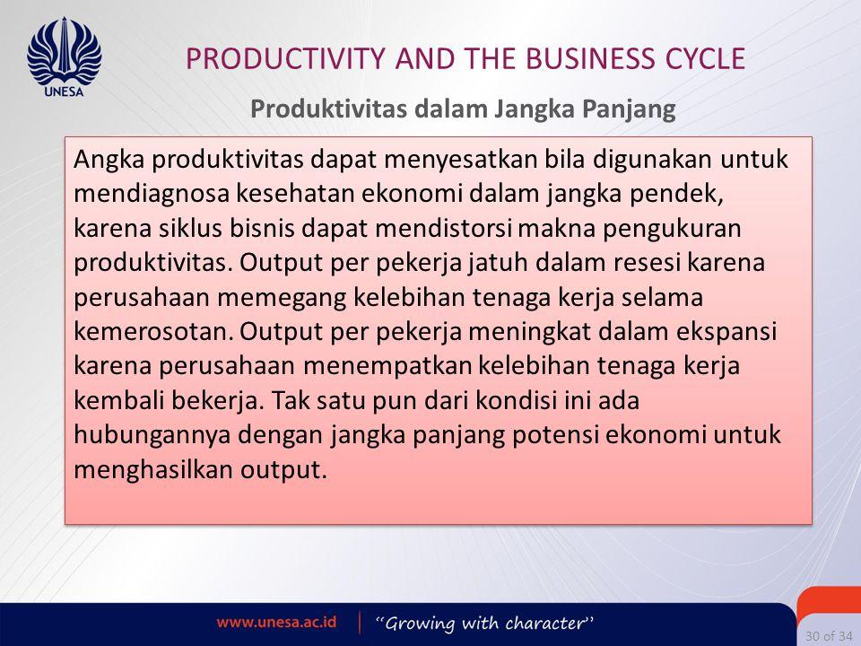 30 of 34 PRODUCTIVITY AND THE BUSINESS CYCLE Angka produktivitas dapat menyesatkan bila digunakan untuk mendiagnosa kesehatan ekonomi dalam jangka pen
