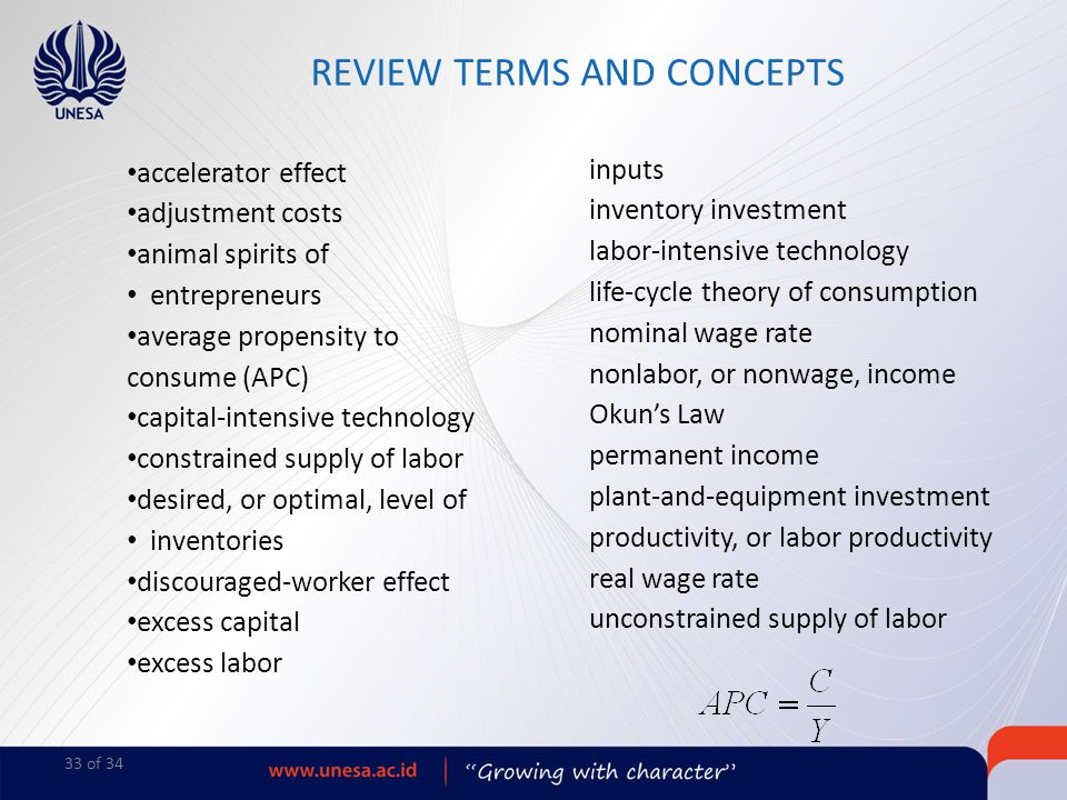 33 of 34 accelerator effect adjustment costs animal spirits of entrepreneurs average propensity to consume (APC) capital-intensive technology constrai