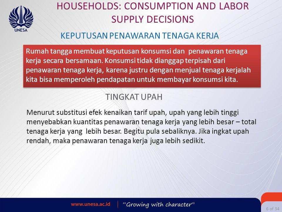 6 of 34 HOUSEHOLDS: CONSUMPTION AND LABOR SUPPLY DECISIONS KEPUTUSAN PENAWARAN TENAGA KERJA Rumah tangga membuat keputusan konsumsi dan penawaran tena