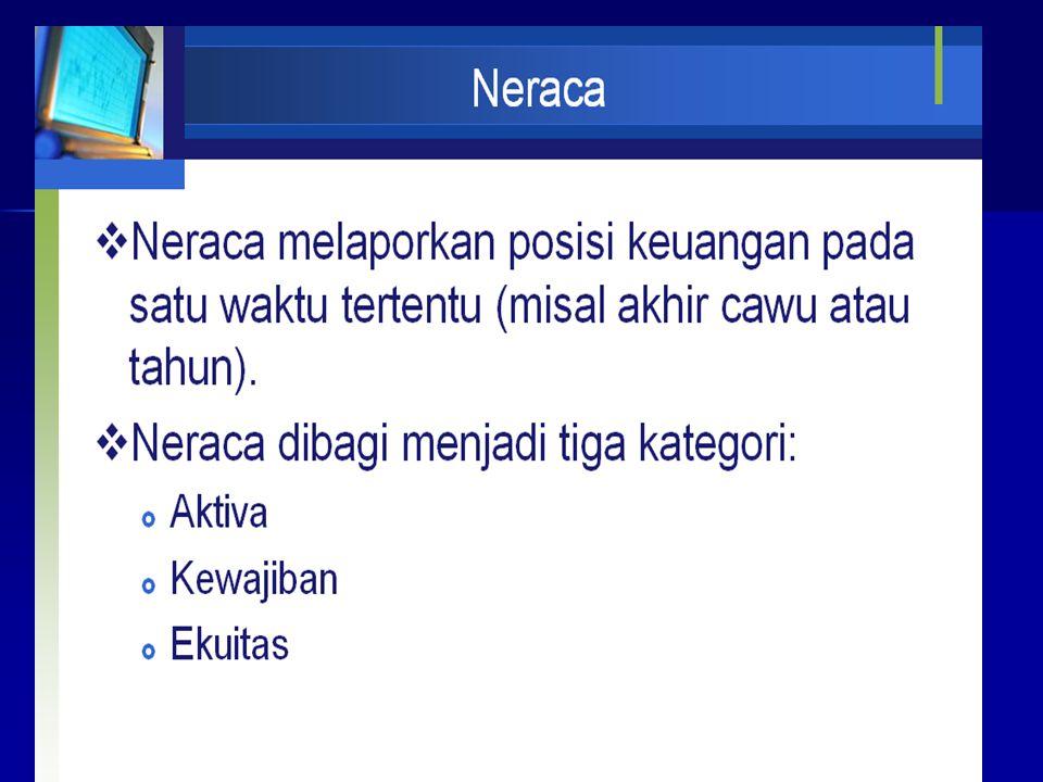 Neraca Neraca : adalah media pelaporan yang melaporkan posisi keuangan pada waktu tertentu.