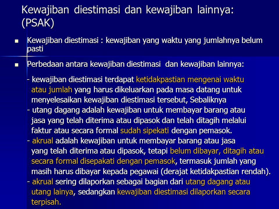 Kewajiban diestimasi dan kewajiban lainnya: (PSAK) Kewajiban diestimasi : kewajiban yang waktu yang jumlahnya belum pasti Kewajiban diestimasi : kewaj