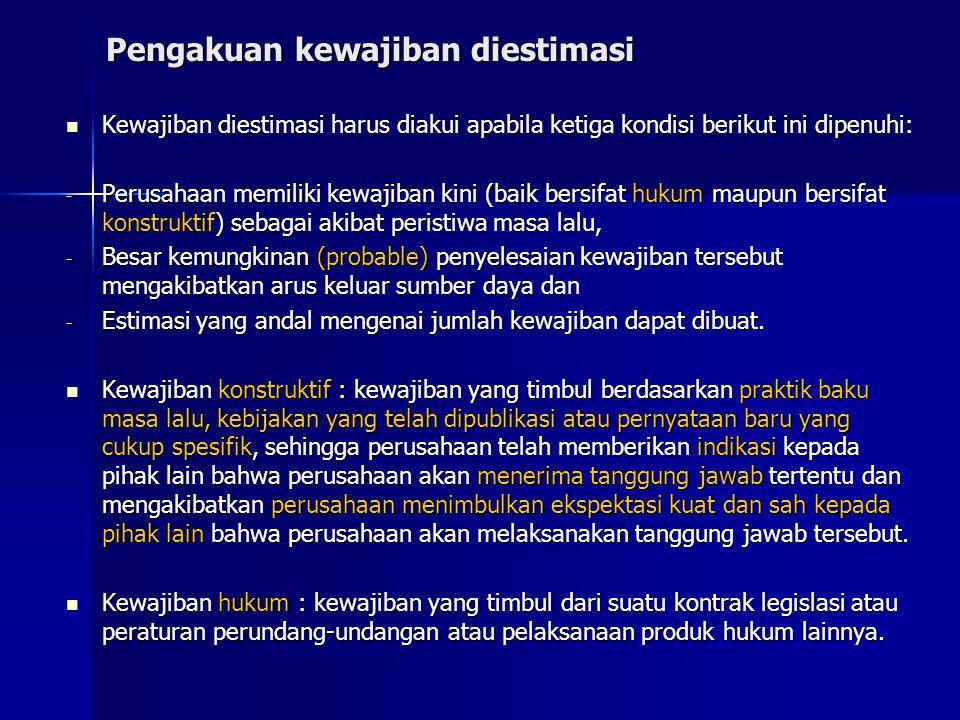 Pengakuan kewajiban diestimasi Kewajiban diestimasi harus diakui apabila ketiga kondisi berikut ini dipenuhi: Kewajiban diestimasi harus diakui apabil