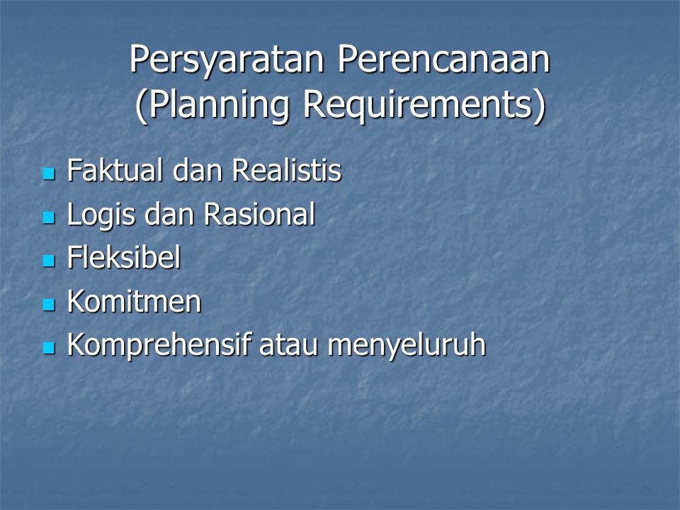 Persyaratan Perencanaan (Planning Requirements) Faktual dan Realistis Faktual dan Realistis Logis dan Rasional Logis dan Rasional Fleksibel Fleksibel Komitmen Komitmen Komprehensif atau menyeluruh Komprehensif atau menyeluruh