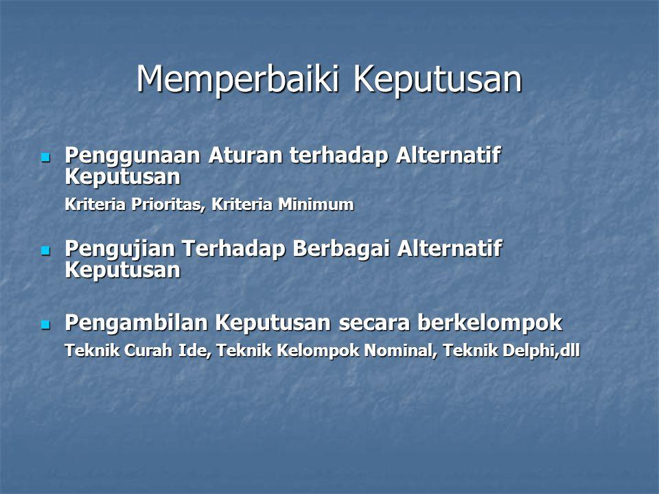 Memperbaiki Keputusan Penggunaan Aturan terhadap Alternatif Keputusan Penggunaan Aturan terhadap Alternatif Keputusan Kriteria Prioritas, Kriteria Minimum Pengujian Terhadap Berbagai Alternatif Keputusan Pengujian Terhadap Berbagai Alternatif Keputusan Pengambilan Keputusan secara berkelompok Pengambilan Keputusan secara berkelompok Teknik Curah Ide, Teknik Kelompok Nominal, Teknik Delphi,dll