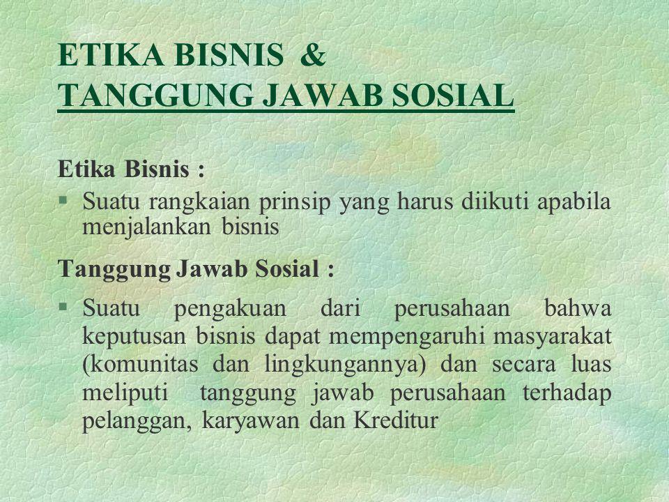 Etika Bisnis & tanggjawab Sosial Keputusn Bisnis Pendapatan Perusahaan Nilai Perusahaan