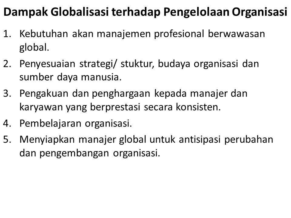 1.Kebutuhan akan manajemen profesional berwawasan global. 2.Penyesuaian strategi/ stuktur, budaya organisasi dan sumber daya manusia. 3.Pengakuan dan