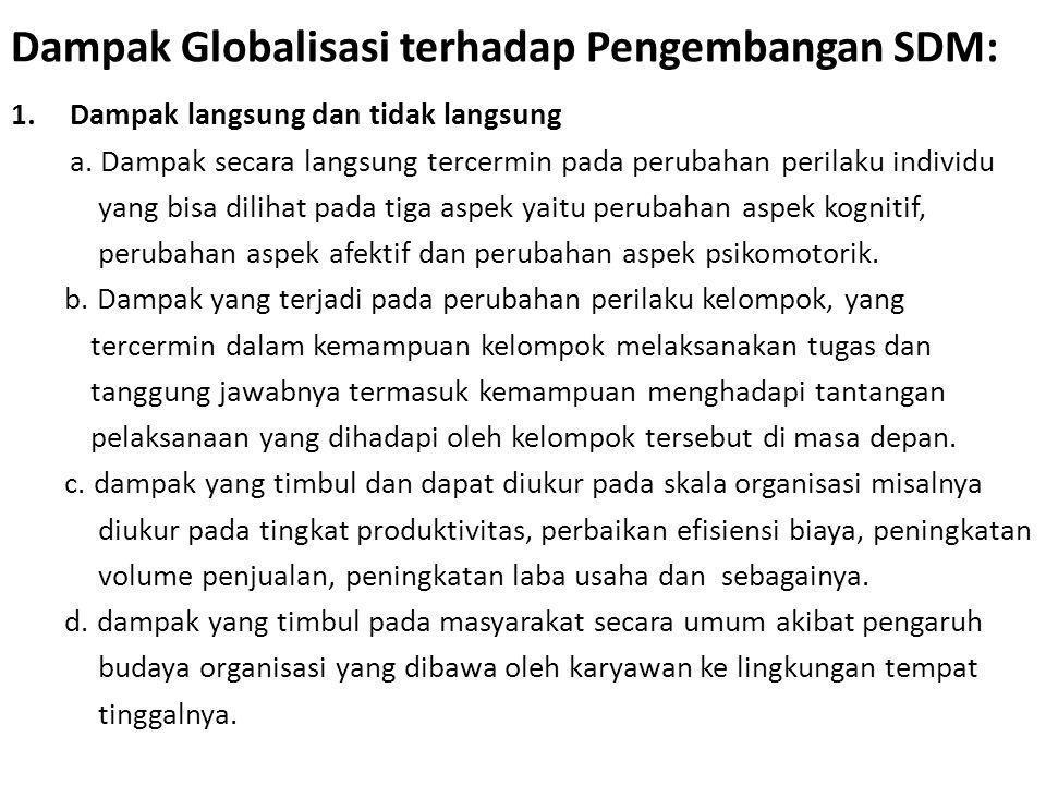 Dampak Globalisasi terhadap Pengembangan SDM: 1.Dampak langsung dan tidak langsung a. Dampak secara langsung tercermin pada perubahan perilaku individ
