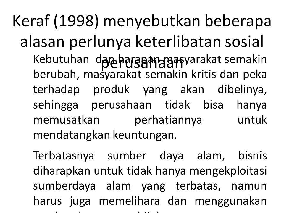 Keraf (1998) menyebutkan beberapa alasan perlunya keterlibatan sosial perusahaan 1. Kebutuhan dan harapan masyarakat semakin berubah, masyarakat semak