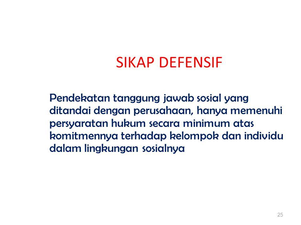 SIKAP DEFENSIF Pendekatan tanggung jawab sosial yang ditandai dengan perusahaan, hanya memenuhi persyaratan hukum secara minimum atas komitmennya terhadap kelompok dan individu dalam lingkungan sosialnya 25