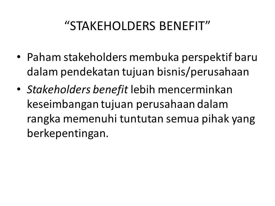 STAKEHOLDERS BENEFIT Paham stakeholders membuka perspektif baru dalam pendekatan tujuan bisnis/perusahaan Stakeholders benefit lebih mencerminkan keseimbangan tujuan perusahaan dalam rangka memenuhi tuntutan semua pihak yang berkepentingan.