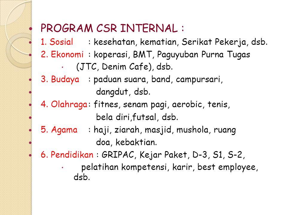 PROGRAM CSR INTERNAL : 1. Sosial: kesehatan, kematian, Serikat Pekerja, dsb. 2. Ekonomi: koperasi, BMT, Paguyuban Purna Tugas  (JTC, Denim Cafe) , d